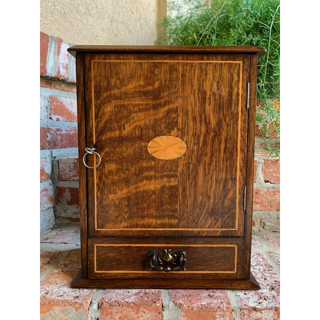 Antique English Inlaid Tiger Oak Pipe Smoke Cabinet Game Box Humidor Copper For Sale - Image 13 of 13