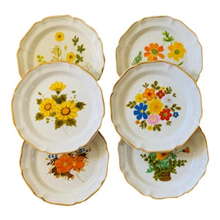 Mismatched 1970's Mikasa Garden Club Dinner Plates - Set of 6 For Sale