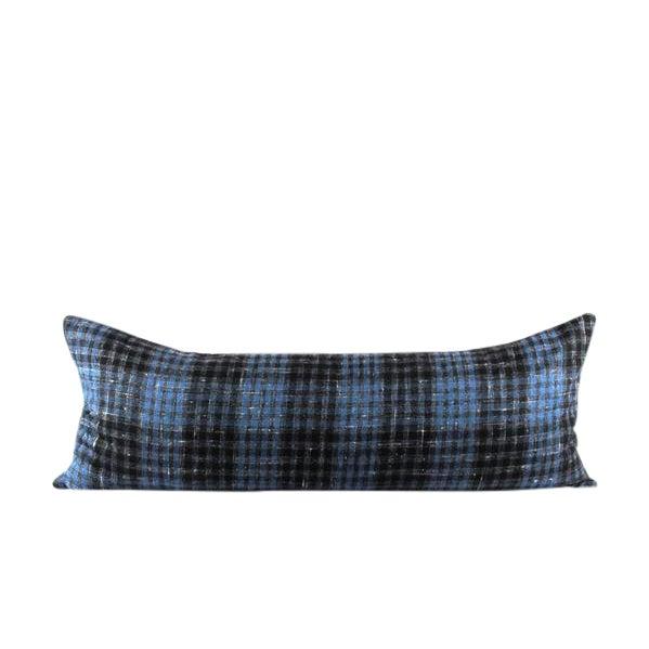 "Blue Plaid Wool Lumbar Pillow 13"" x 34"" For Sale"