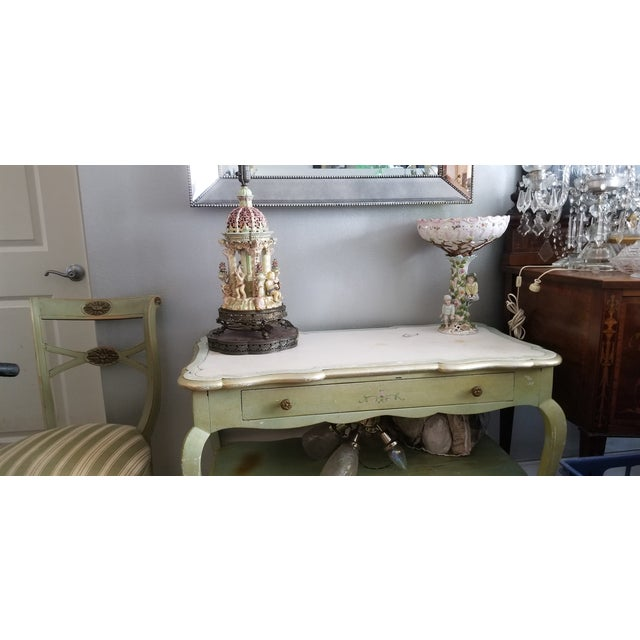 Wood White Mablre Top 1930s Italian Painted Console or Dressing Table For Sale - Image 7 of 13