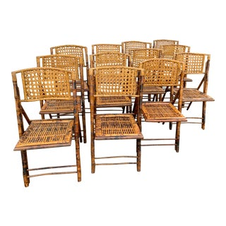 Vintage Bamboo and Rattan Folding Chairs - Set of 12 For Sale
