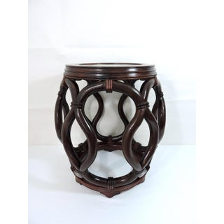 Vintage Chinese Rosewood Garden Stool / Side Table With Flower & Butterfly Porcelain Top Preview