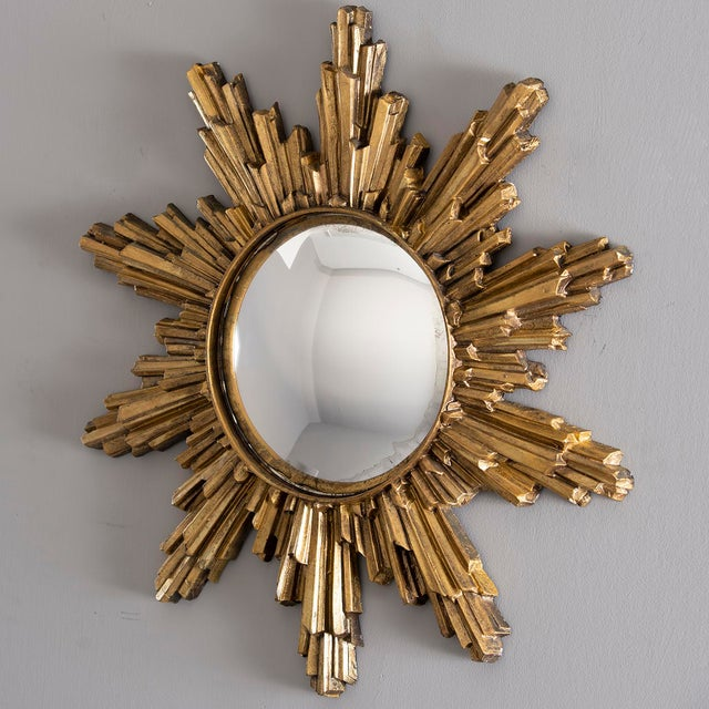 Mid-Century Modern Mid Century Convex Gilded Sunburst Mirror For Sale - Image 3 of 10