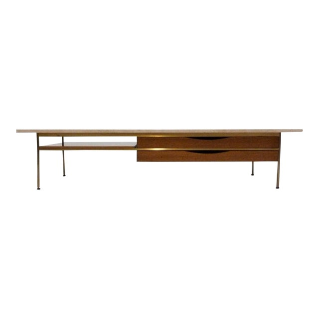 Paul McCobb For Calvin Mahogany, Brass & Travertine Coffee Table - Image 1 of 11