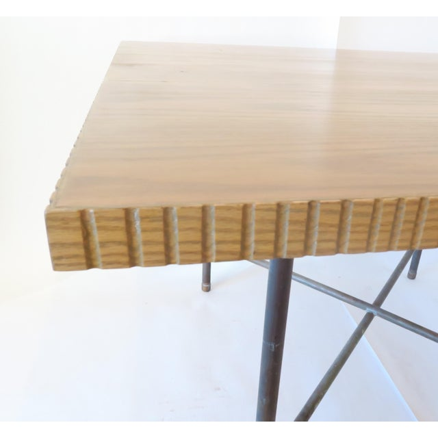 Pipe Table With Chisled Edge Wood Top - Image 5 of 6