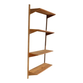 Vintage Danish Mid-Century Modern Oak Four Shelve Wall Unit Bookcase