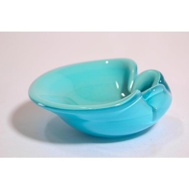 Gorgeous mid 20th-century Italian Murano Venetian handblown light blue art glass flower shaped bowl or ashtray. Sculptural...