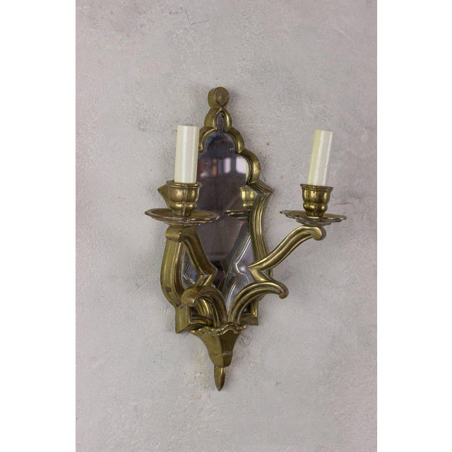 1930s Pair of French Gilt Bronze Sconces For Sale - Image 5 of 10