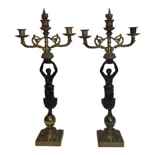 French Empire Style Two Tone Bronze Candelabra - a Pair