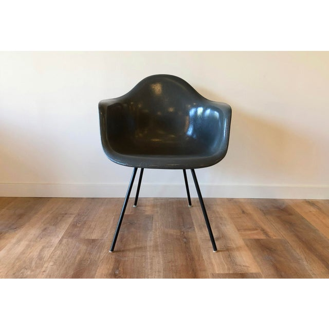 Elephant grey fiberglass molded Eames shell chair with iron legs. H base model, DAX styleFront two legs are missing glides...