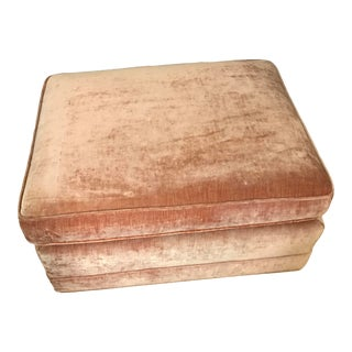 Vintage Velvet Ottoman With Brass Casters For Sale