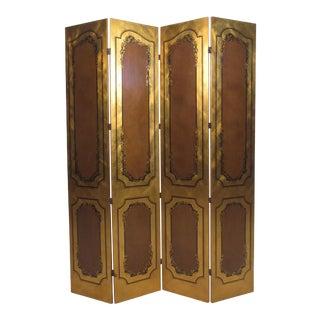 Vintage Four Panel Room Divider For Sale
