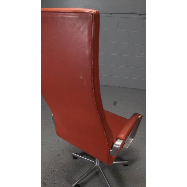 Animal Skin High Back Leather Oxford Desk Chair by Arne Jacobsen For Sale - Image 7 of 10