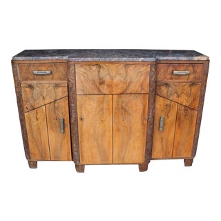 1930s Art Deco Marble Top Sideboard Credenza For Sale