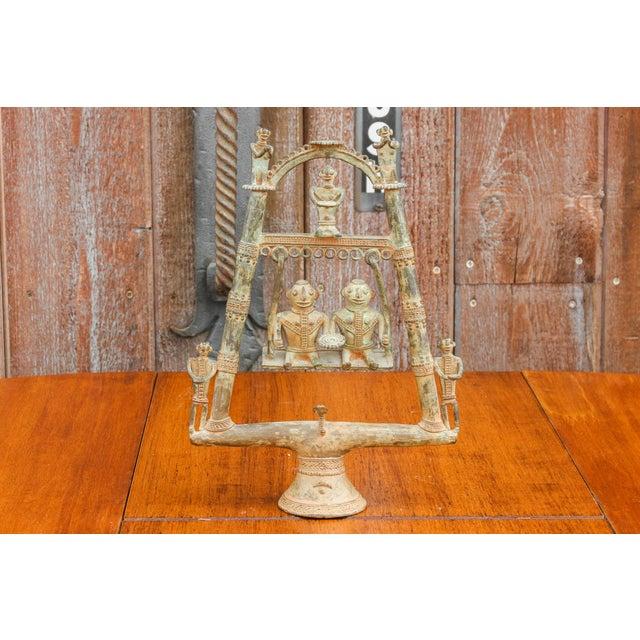 Figurative Tribal Bastar Figurines on Swing For Sale - Image 3 of 11