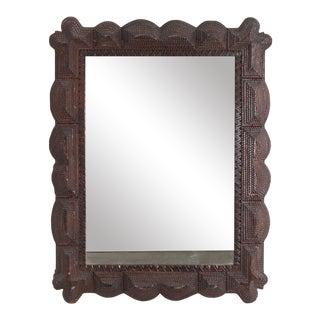 1920s Tramp Art Mirror Frame For Sale