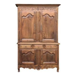 19th Century Country French Fruitwood Buffet a Deux Corps For Sale