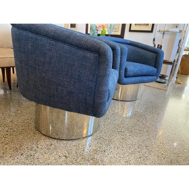 Mid-Century Modern Mid-Century Modern Leon Rosen for Pace Chairs Memory Swivel - a Pair For Sale - Image 3 of 13