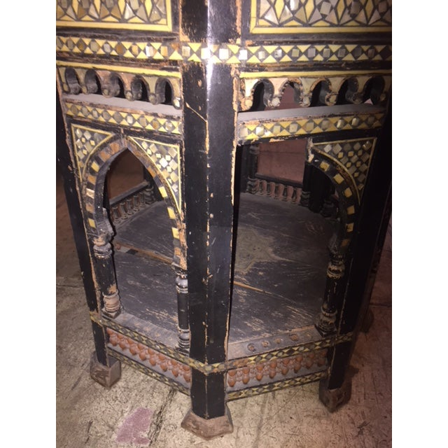 Mother-of-Pearl Vintage Moroccan Octagon Mother of Pearl Inlay Table For Sale - Image 7 of 10