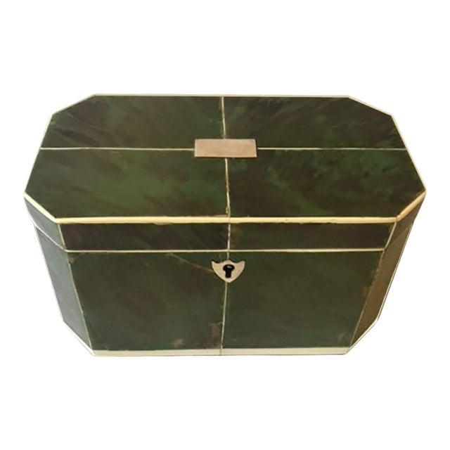 Mid 18th Century Regency Faux Green Tortoiseshell and Bone Tea Caddy For Sale