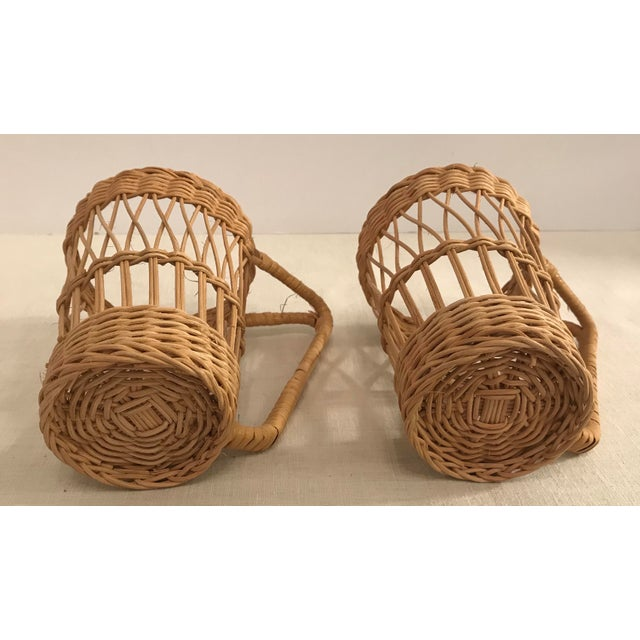 Wicker Vintage Wicker Handled Glass Holders - A Pair For Sale - Image 7 of 8