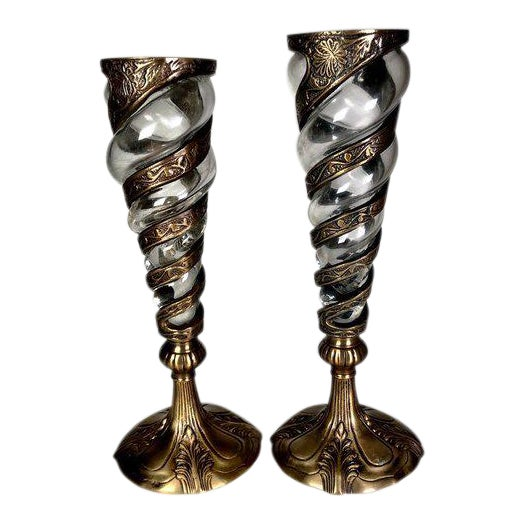 Mid-Century Indian Brass Goblet Candle Holders - a Pair For Sale