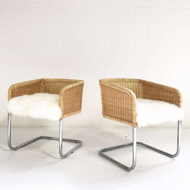 Woven Chairs with Sheepskin Cushions - A Pair - Image 8 of 8