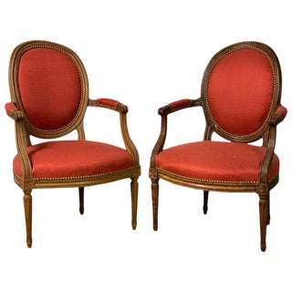 Pair of French Louis XVI Beechwood Fauteuils For Sale
