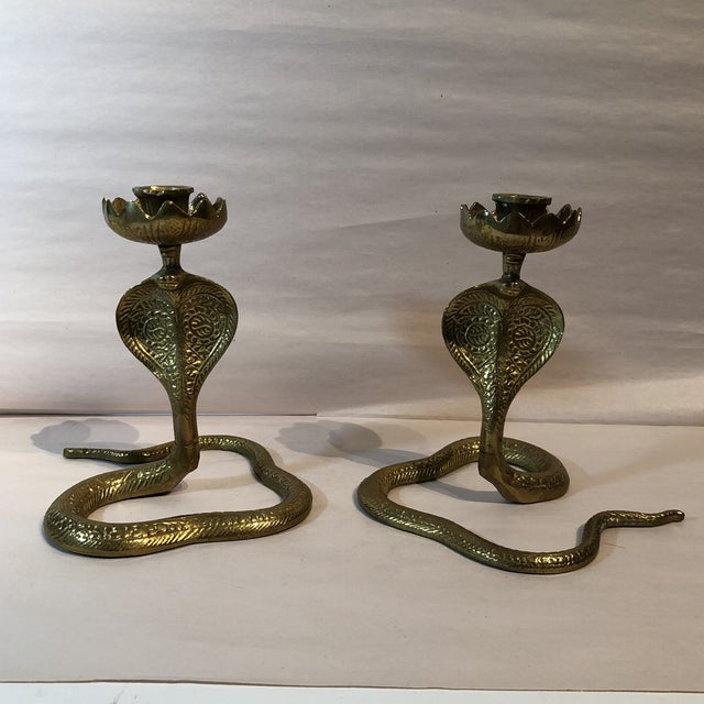 Brass King Cobra Candle Holders - a Pair For Sale - Image 11 of 11