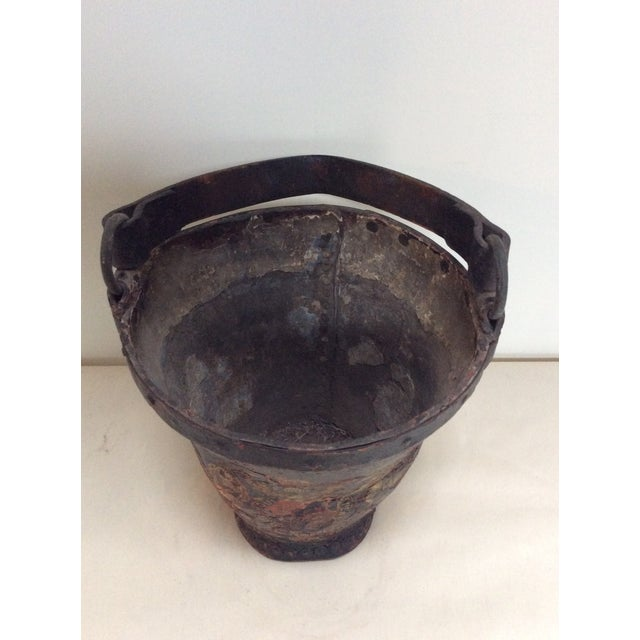 Antique Leather Coat of Arms Fire Bucket - Image 8 of 9