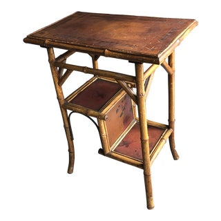 19th Century English Tortoise Bamboo Table With Leather Top For Sale