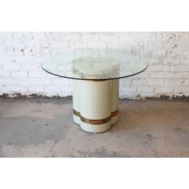 Bernhard Rohne for Mastercraft Acid Etched Brass Cream Lacquered Pedestal Dining Table For Sale - Image 12 of 13