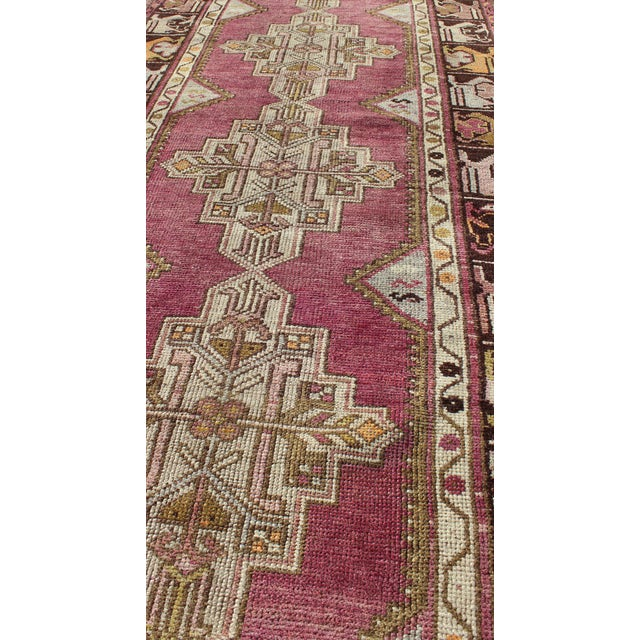 Keivan Woven Arts Vintage Oushak Runner With Geometric Medallions in Purple and Brown For Sale In Atlanta - Image 6 of 8