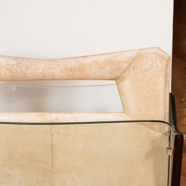 Vintage Goatskin and Lacquered Wood Magazine Rack For Sale - Image 4 of 5