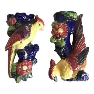 Vintage Mid 20th Century Japanese Parrot Bird Wall Pockets - a Pair For Sale