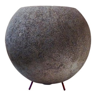 Spherical Concrete Vessel on Copper Legs • Michael Butler Studios For Sale