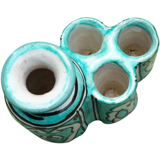 Handcrafted and glazed Moroccan ceramic inkwell with candleholder from Fez. Exhibits an ornate hand-painted Moorish...