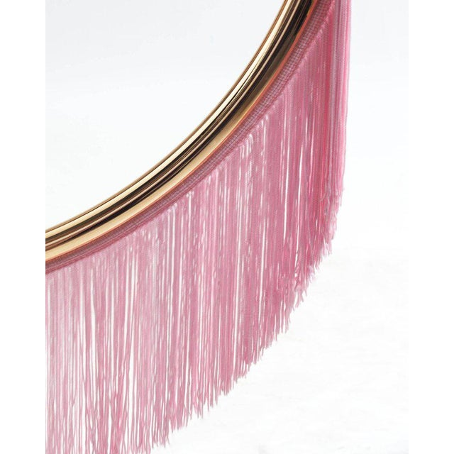 Art Deco Wink Gold-Plated Floor Lamp Postmodernist Style With Cream Pink Fringes For Sale - Image 3 of 9