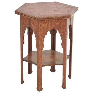 Early 20th Century Arts and Crafts Tile Topped Oak Side Table From England For Sale