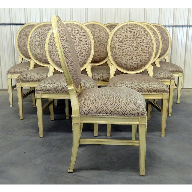 Set of 10 Louis XIV style distressed painted dining room chairs.