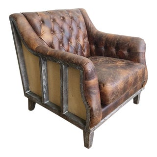 New Brown Tufted Leather Club Chair For Sale