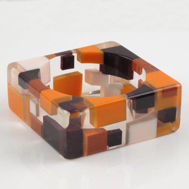 Oversized Lucite Resin Bracelet Bangle Geometric Inclusions Orange Brown and White For Sale - Image 4 of 7