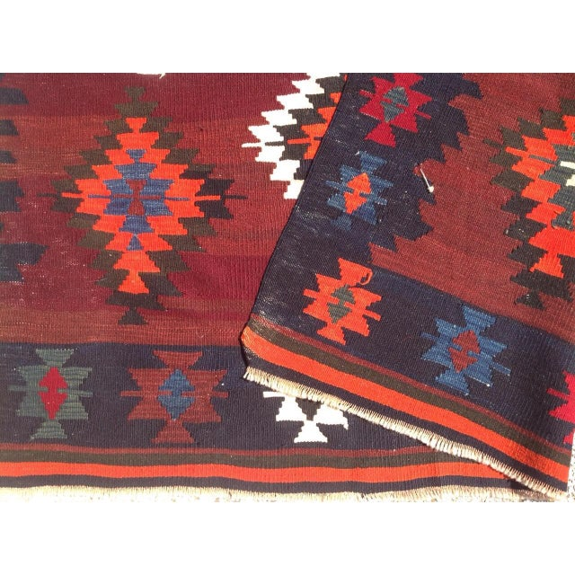 Orange Vintage Turkish Kilim Rug - 5′6″ × 8′4″ For Sale - Image 8 of 8