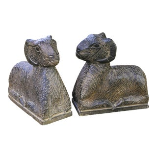 Pair Large Italian Hand-Carved Marble Rams as Bookends For Sale