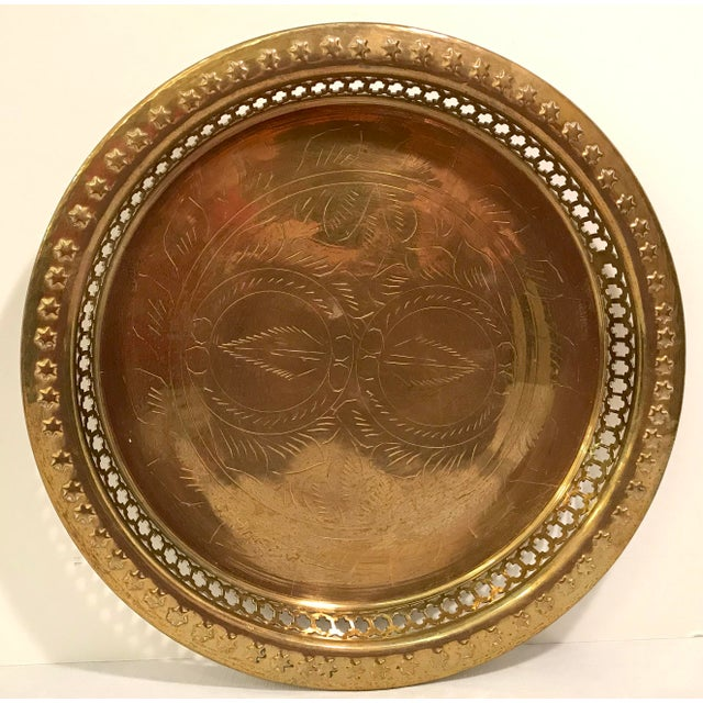 Brass Mid-Century Modern Brass Pierced and Embossed Tray For Sale - Image 7 of 7