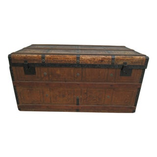 1930s Rustic Steamer Trunk Storage Chest Coffee Table For Sale