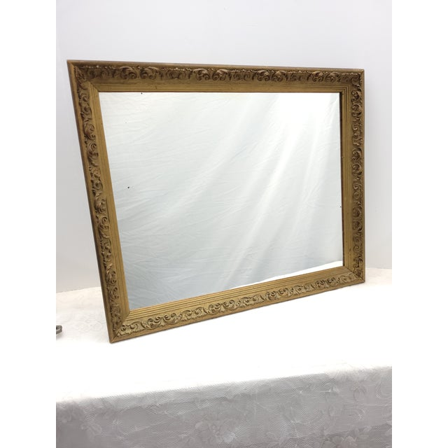 Vintage 1960s Gesso Gold Wood Square Wall Mirror For Sale - Image 10 of 10