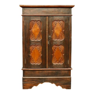 Simply Carved Craftsman Style Wardrobe For Sale