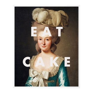 Eat Cake by Lara Fowler in White Framed Paper, Small Art Print For Sale