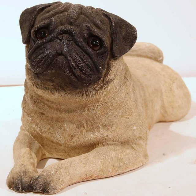Dog lovers will appreciate this interesting vintage terracotta pug. Crafted in France circa 1920, the sculpture features a...